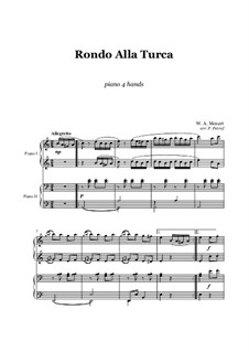 Rondo alla turca: For piano four hands by Wolfgang Amadeus Mozart