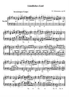 No.20 Ländliches Lied (Rustic Song): For piano by Robert Schumann