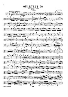 String Quartet No.43 in G Major, Hob.III/58 Op.54 No.1: Viola part by Joseph Haydn