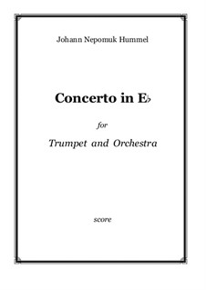 Concerto for Trumpet (Bb) and Orchestra in Eb: Full score by Johann Nepomuk Hummel