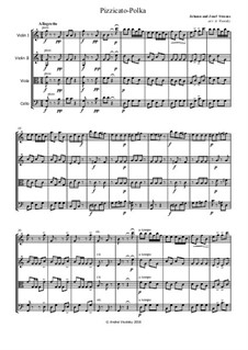 Pizzicato Polka: For string quartet by Johann Strauss (Sohn)