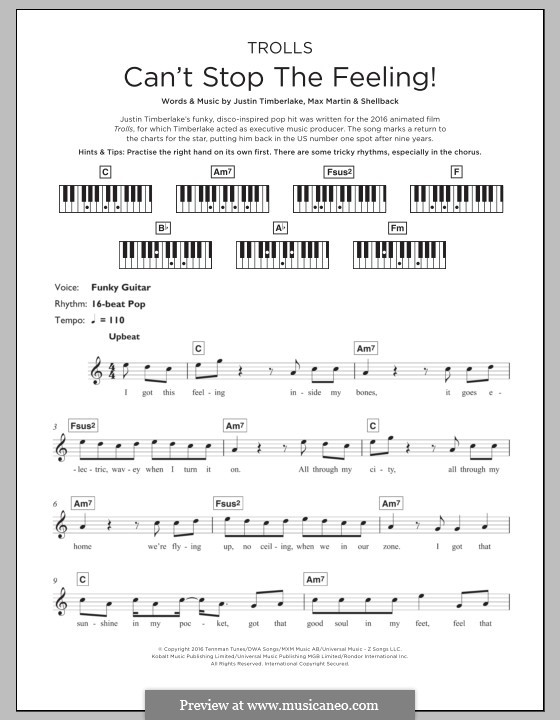 Can't Stop the Feeling: For keyboard by Shellback, Justin Timberlake, Max Martin