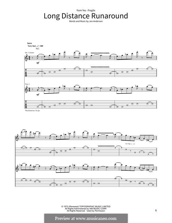 Long Distance Run Around (Yes): For guitar with tab by Jon Anderson
