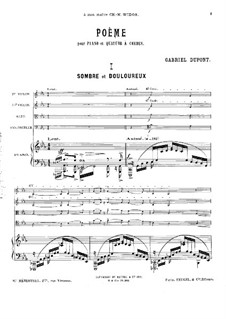 Poem for Piano Quintet: Full score by Gabriel Dupont