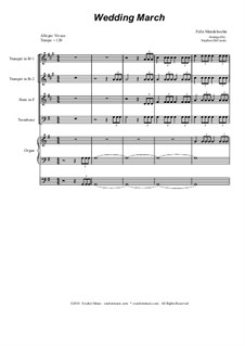 Wedding March: For brass quartet by Felix Mendelssohn-Bartholdy