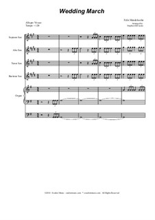 Wedding March: For saxophone quartet by Felix Mendelssohn-Bartholdy