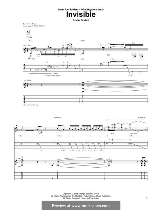 Invisible: For guitar with tab by Joe Satriani
