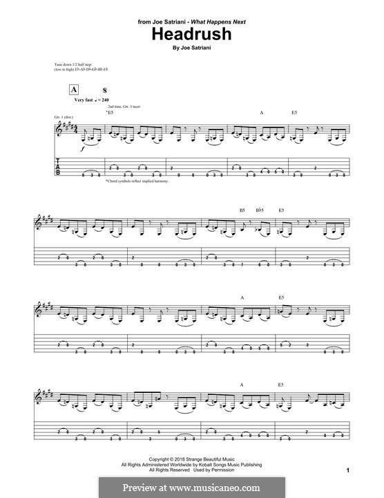 Headrush: For guitar with tab by Joe Satriani