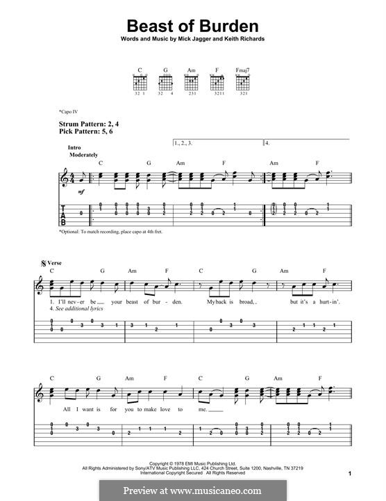 Beast of Burden (The Rolling Stones): For guitar with tab by Keith Richards, Mick Jagger