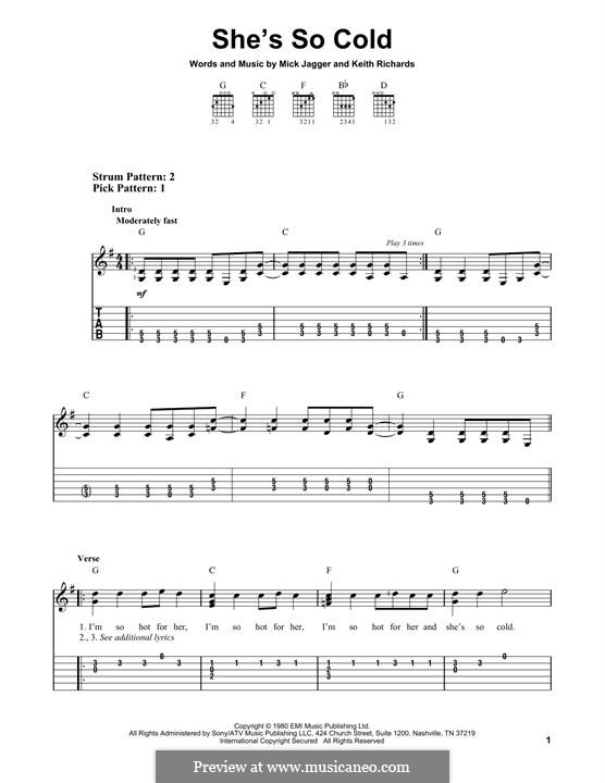 She's So Cold (The Rolling Stones): For guitar with tab by Keith Richards, Mick Jagger