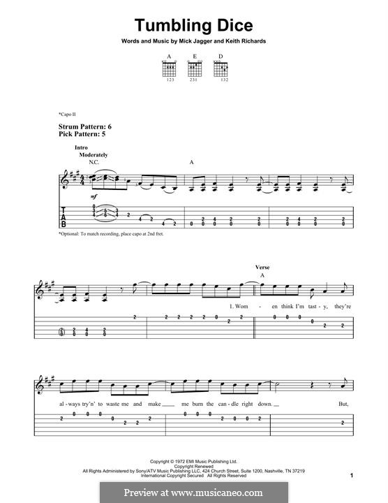 Tumbling Dice (The Rolling Stones): For guitar with tab by Keith Richards, Mick Jagger