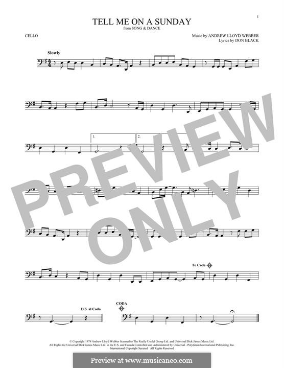 Tell Me on a Sunday: For cello by Andrew Lloyd Webber