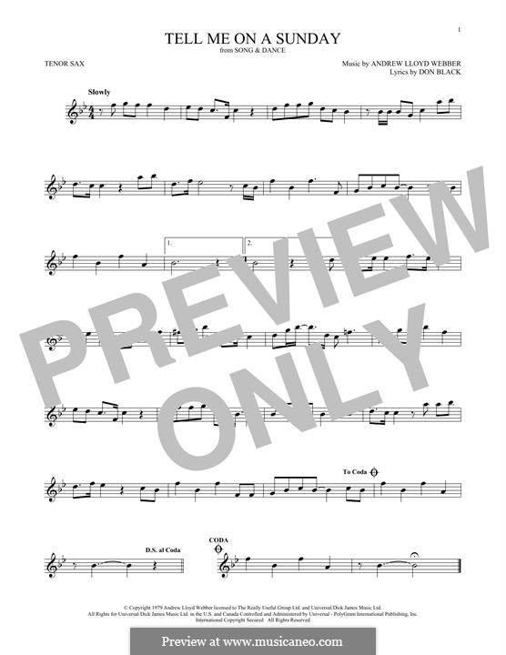 Tell Me on a Sunday: For tenor saxophone by Andrew Lloyd Webber