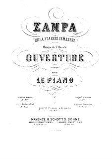 Zampa, ou La fiancée de marbre (Zampa, or the Marble Bride): Overture, for two pianos eight hands – piano I part by Ferdinand Herold