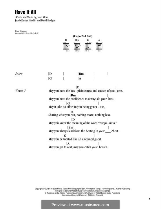 Have It All (Jason Mraz): Lyrics and chords by David Hodges, Jacob Kasher Hindlin, Jason Mraz