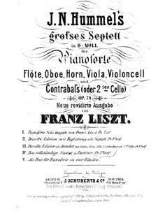 Septet No.1 in D Minor, Op.74: Full score by Johann Nepomuk Hummel