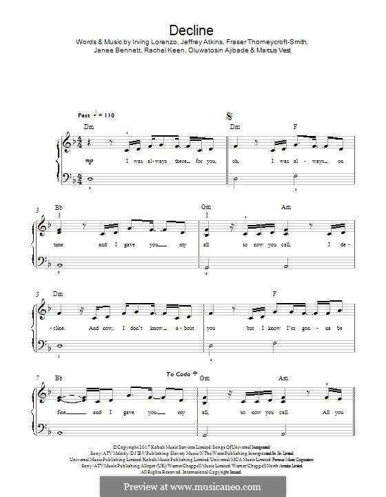Decline (RAYE & Mr Eazi): For piano by Fraser Thorneycroft-Smith, Irving Lorenzo, Jeffrey Atkins, Marcus Vest, Janee Bennett, Rachel Keen, Oluwatosin Ajibade