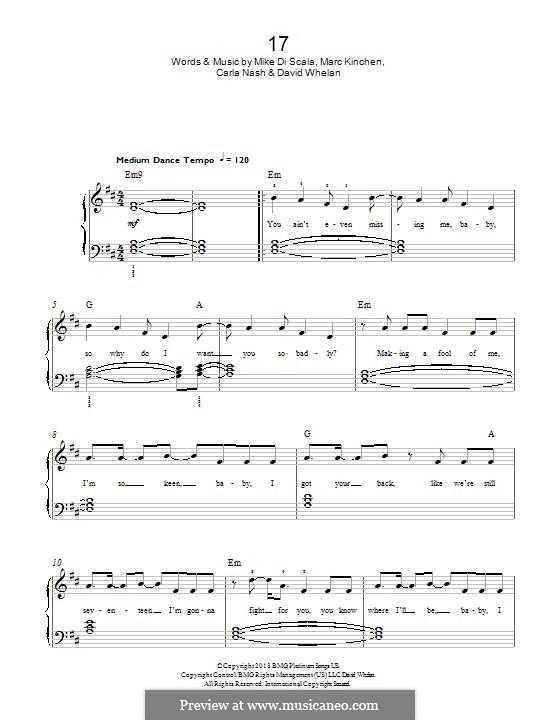 17 (MK): For piano by Mike Di Scala, Carla Nash, David Whelan, Marc Kinchen