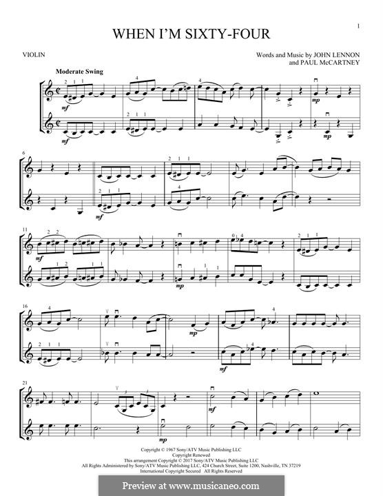 When I'm Sixty-Four (The Beatles): For two violins by John Lennon, Paul McCartney