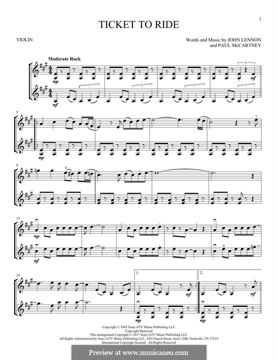 Ticket to Ride (The Beatles): For two violins by John Lennon, Paul McCartney