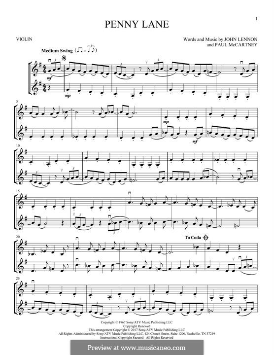 Penny Lane (The Beatles): For two violins by John Lennon, Paul McCartney