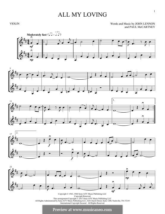 All My Loving (The Beatles): For two violins by John Lennon, Paul McCartney