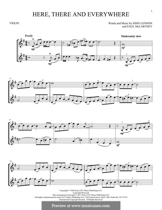 Here, There and Everywhere (The Beatles): For two violins by John Lennon, Paul McCartney