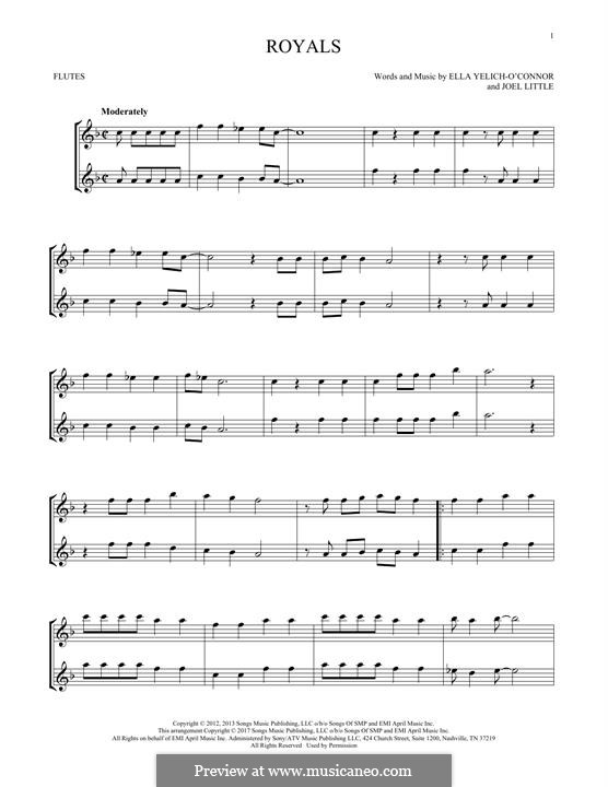 Royals (Lorde): For two flutes by Ella Yelich-O'Connor, Joel Little