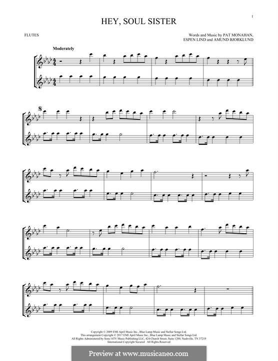 Hey, Soul Sister (Train): For two flutes by Amund Bjorklund, Espen Lind, Patrick Monahan