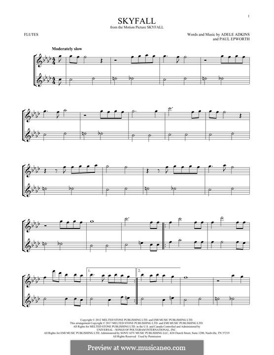 Instrumental version: For two flutes by Adele, Paul Epworth