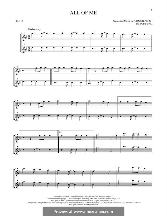 All of Me: For two flutes by John Stephens, Tobias Gad