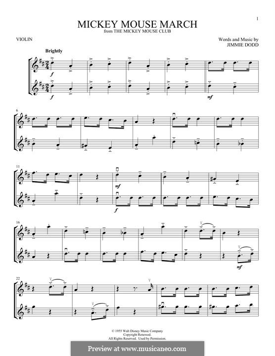 Mickey Mouse March: For two violins by Jimmie Dodd