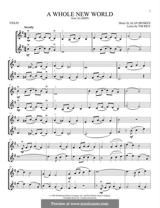 A Whole New World (from Aladdin): For two violins by Alan Menken