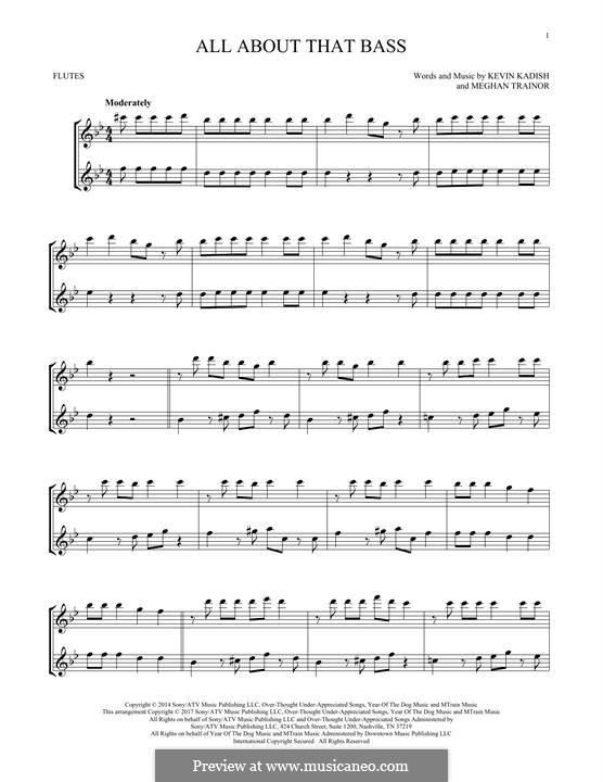 All About That Bass: For two flutes by Kevin Kadish, Meghan Trainor
