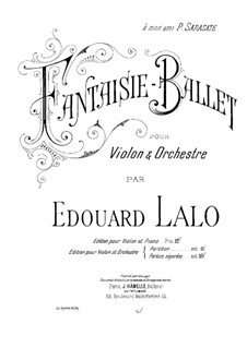 Fantasia-Ballet: For violin and piano by Édouard Lalo