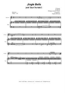 Jingle Bells (with 'Deck The Halls'): Duet for Bb-trumpet and french horn by Wolfgang Amadeus Mozart, folklore, James Lord Pierpont