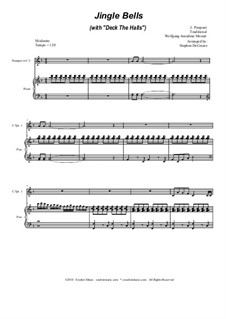 Jingle Bells (with 'Deck The Halls'): Duet for C-trumpet by Wolfgang Amadeus Mozart, folklore, James Lord Pierpont