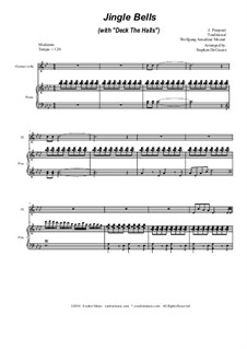 Jingle Bells (with 'Deck The Halls'): Duet for flute and Bb-clarinet by Wolfgang Amadeus Mozart, folklore, James Lord Pierpont