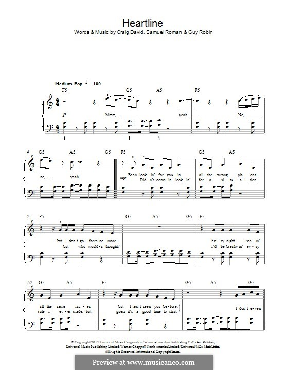 Heartline: For piano by Craig David, Guy Robin, Samuel Roman