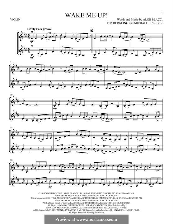Wake Me Up: For two violins by Aloe Blacc, Michael Einziger, Avicii, Arash Andreas Pournouri