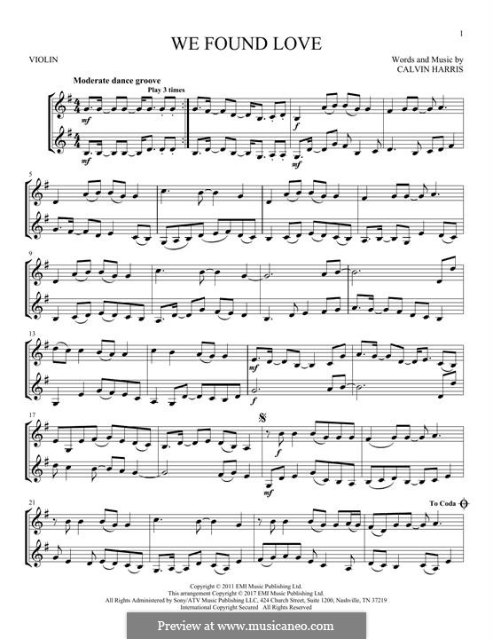 We Found Love: For two violins by Calvin Harris