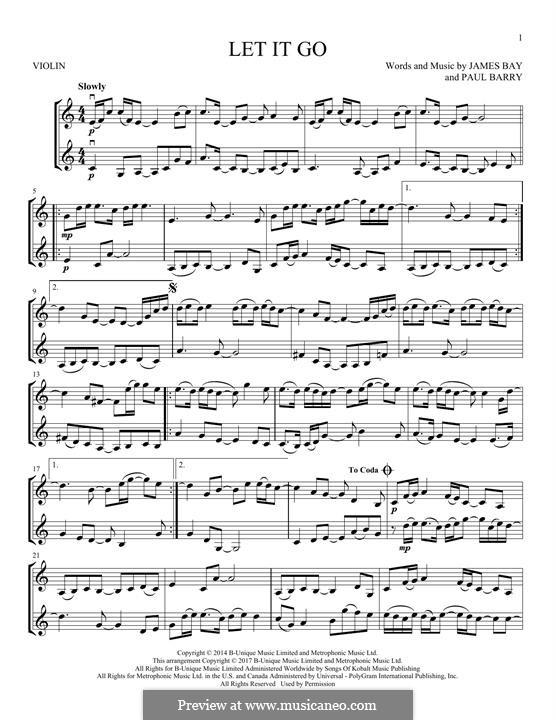 Let it go frozen sheet music violin