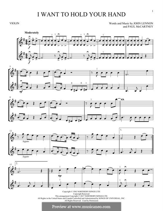 I Want to Hold Your Hand (The Beatles): For two violins by John Lennon, Paul McCartney