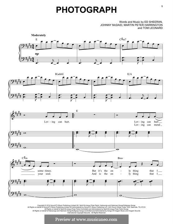 Photograph: For voice and piano by Ed Sheeran, John McDaid