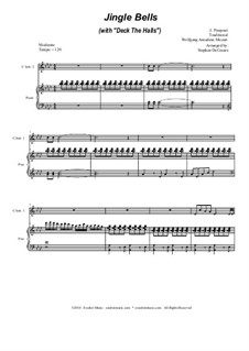 Jingle Bells (with 'Deck The Halls'): Duet for C-instruments by Wolfgang Amadeus Mozart, folklore, James Lord Pierpont