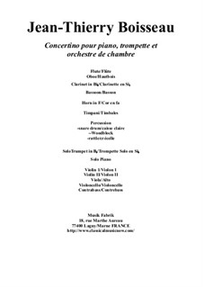 Concertino for Piano, Trumpet in Bb and Orchestra: Score and solo parts by Jean-Thierry Boisseau