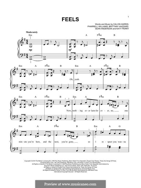 Feels (Calvin Harris feat. Pharrell Williams): For piano by Adam Wiles, Katy Perry, Pharrell Williams, Sean Anderson, Brittany Hazzard