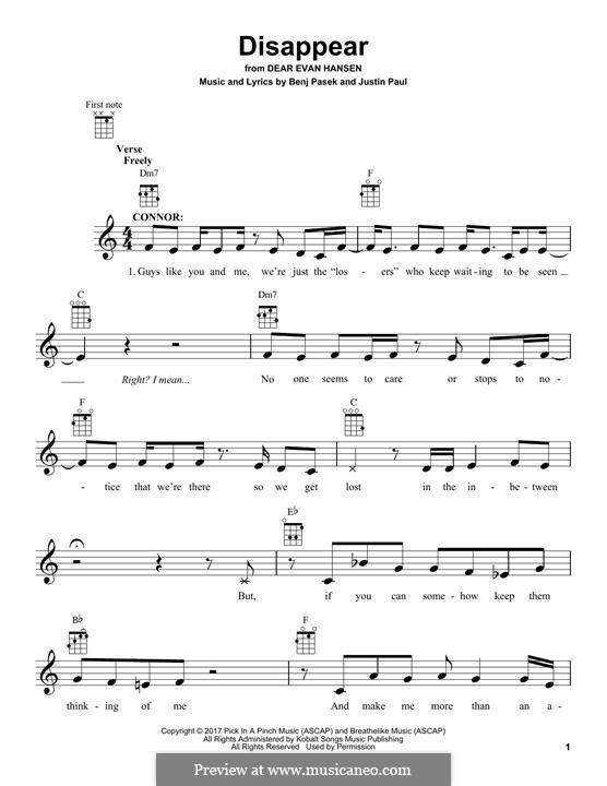 Disappear (from Dear Evan Hansen): For ukulele by Justin Paul, Benj Pasek
