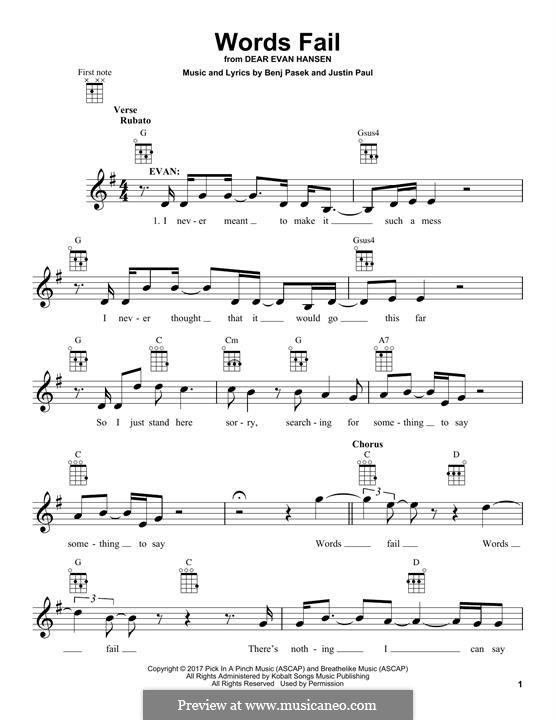 Words Fail (from Dear Evan Hansen): For ukulele by Justin Paul, Benj Pasek