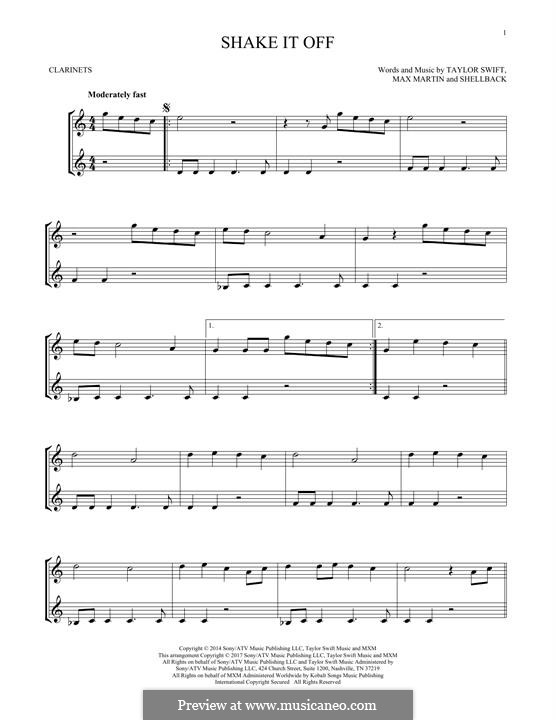 Shake it Off: For two clarinets by Shellback, Max Martin, Taylor Swift